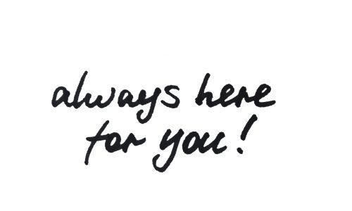 Always,Here,For,You!,Handwritten,Message,On,A,White,Background.